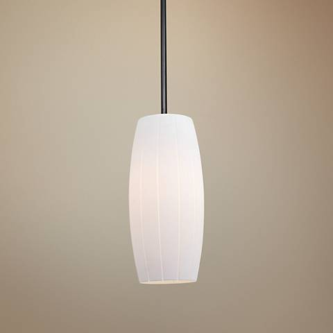 "Cognac 4 3/4"" Wide White Glass LED Mini Pendant"