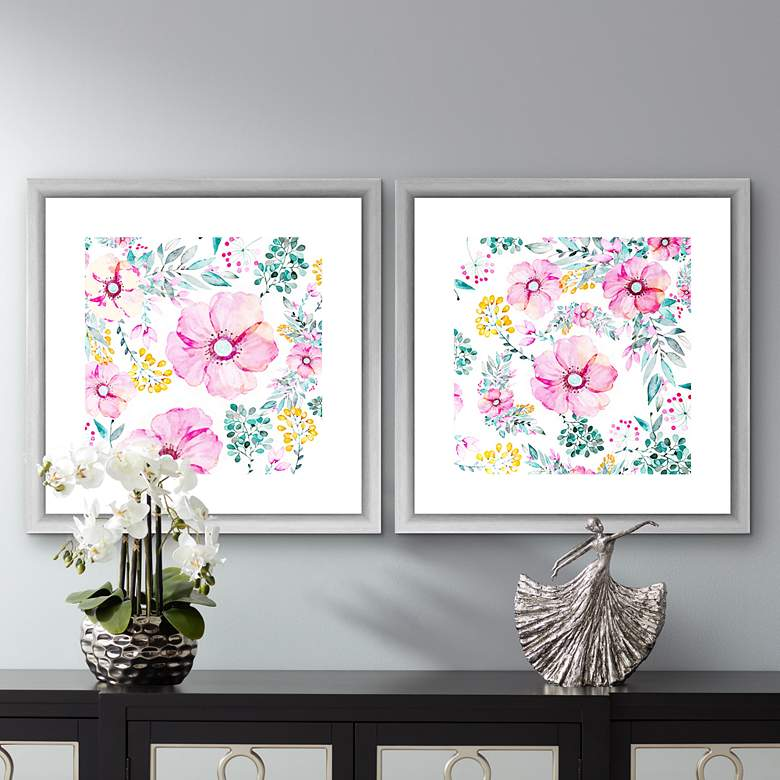 "Pastel Florals 18""W 2-Piece Framed Giclee Wall Art"