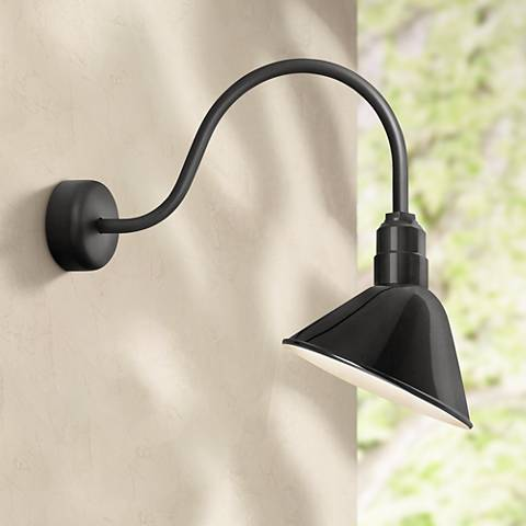 "RLM Angle Reflector 23"" High Black Outdoor Wall Light"