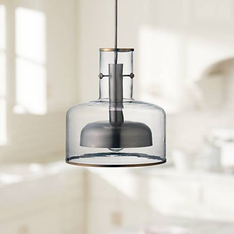 "Clyde 14 1/4"" Wide Clear Glass with Gun Metal Pendant Light"