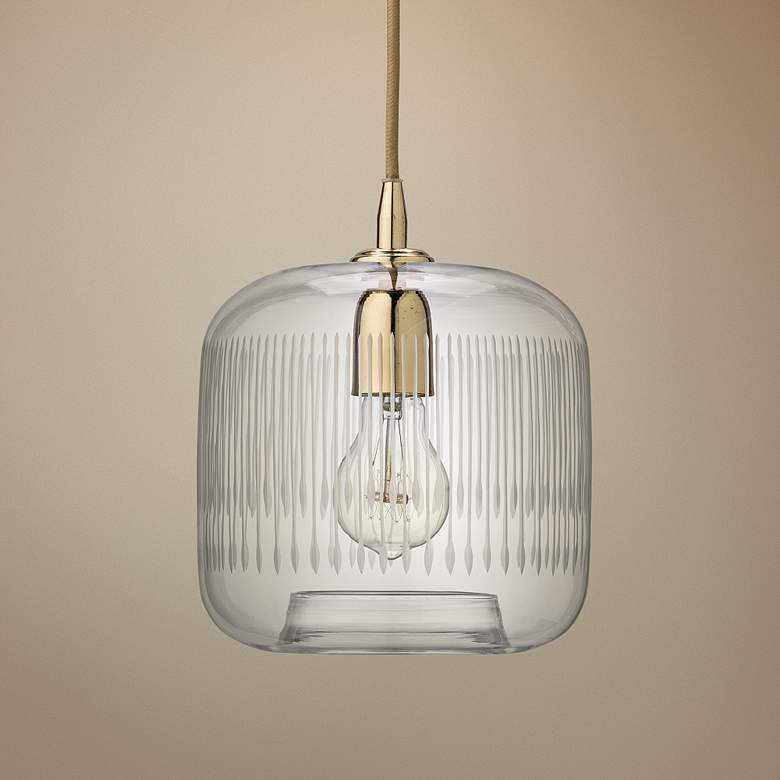 "Contour 7 1/2"" Wide Clear Glass with Brass Mini Pendant"