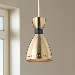 "Hudson Valley Solaris 6 1/2"" Wide Aged Brass Mini Pendant"