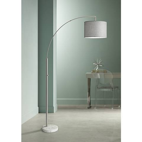Bowery Brushed Steel Adjustable Arc Floor Lamp