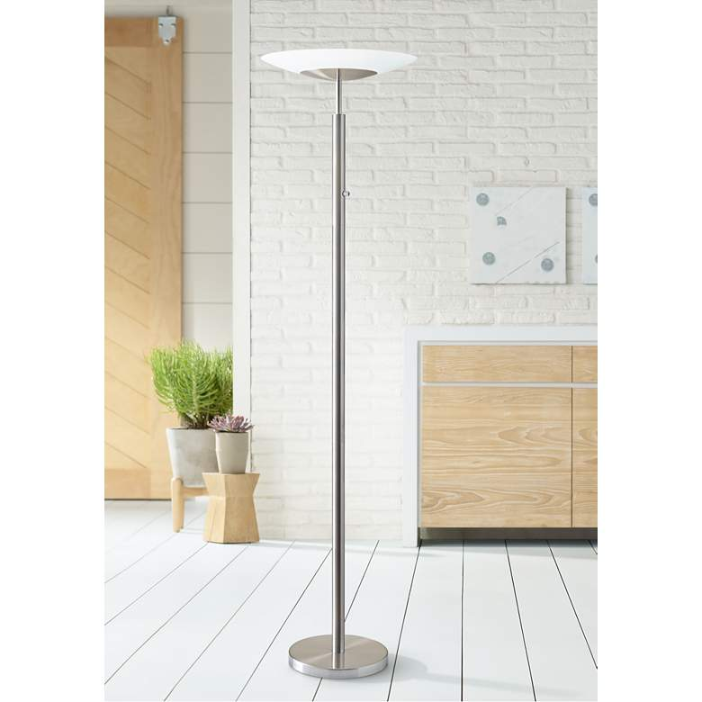 Stellar Brushed Nickel LED Torchiere Floor Lamp