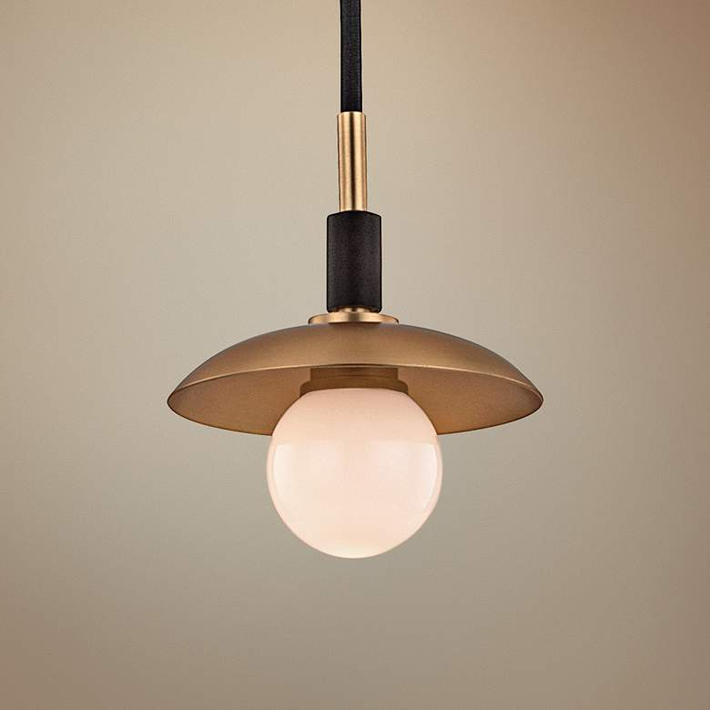 "Hudson Valley Julien 4 3/4""Wide Aged Brass LED Mini Pendant"