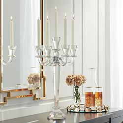 "Del Aire 20 3/4"" High Crystal Candelabra Candle Holder"
