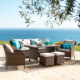 Woodlake Brown Wicker 6 Piece Outdoor Seating Set
