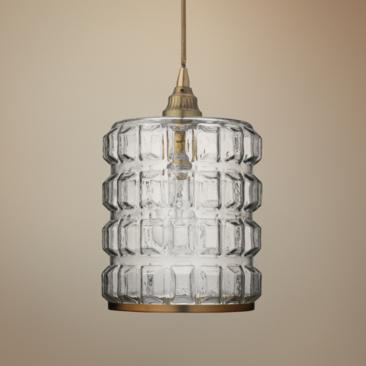 "Madison 8 1/2"" Wide Clear Glass with Brass Mini Pendant"