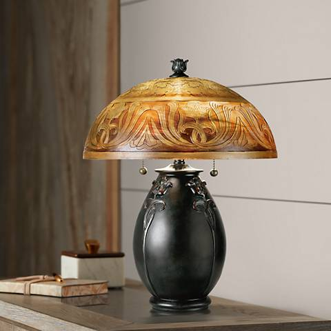 "Quoizel Glenhaven 18"" High Art Nouveau Accent Table Lamp"