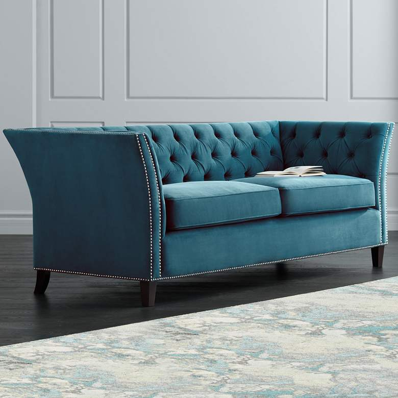 "Brianna 88 1/2"" Wide Teal Blue Tufted Velvet"