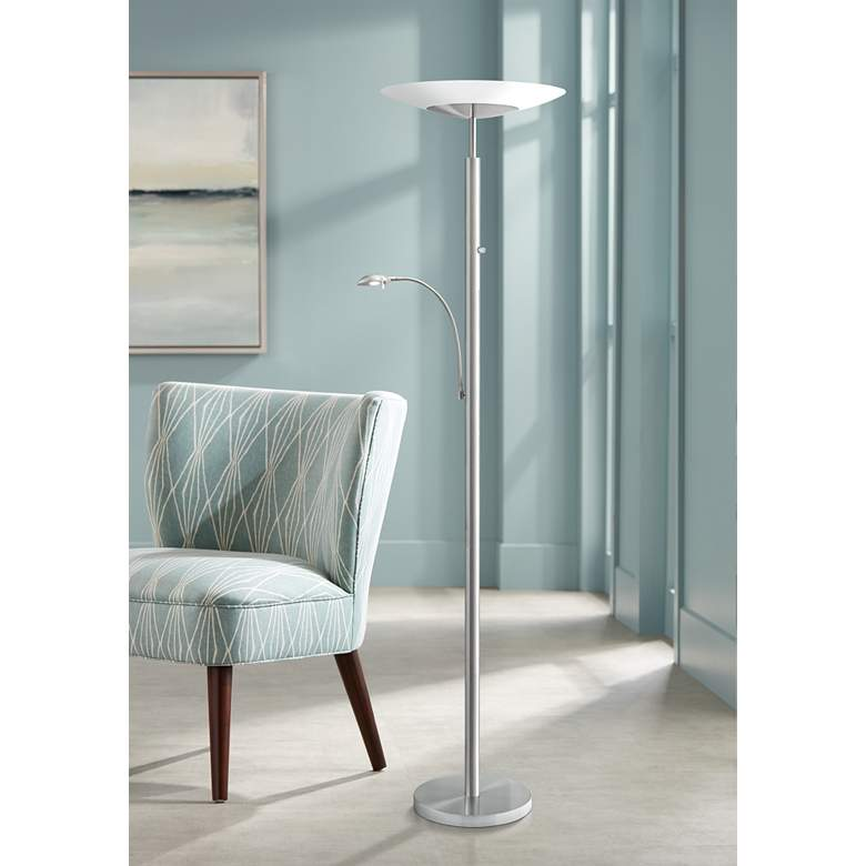 Stellar Brushed Nickel LED Torchiere with Reading Light