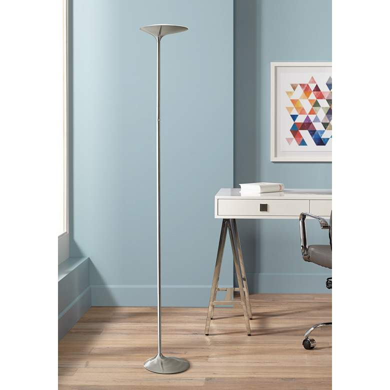 Kepler Brushed Nickel LED Modern Torchiere Floor Lamp
