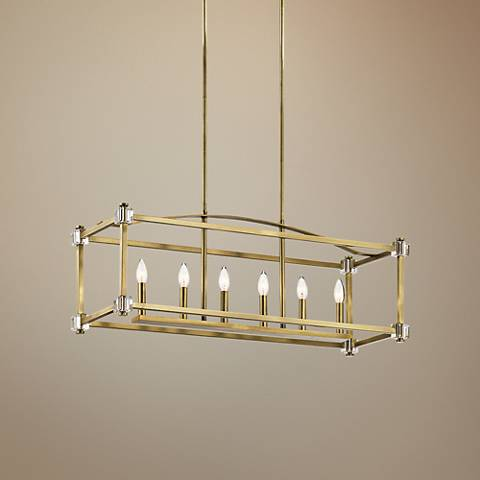 "Kichler Cayden 36""W Natural Brass 6-Light Linear Chandelier"