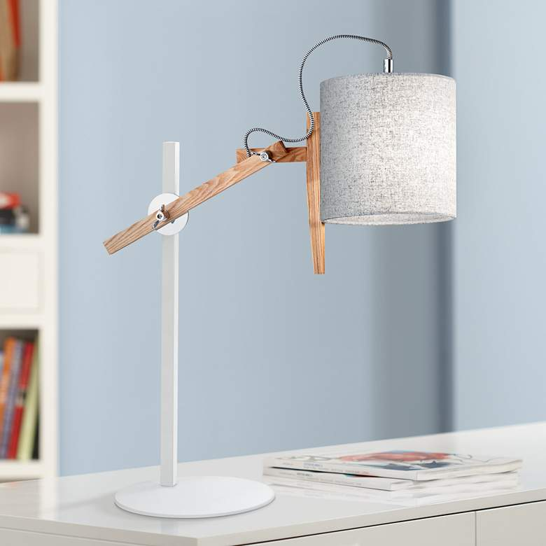 Keaton White and Natural Ash Wood Adjustable Desk Lamp