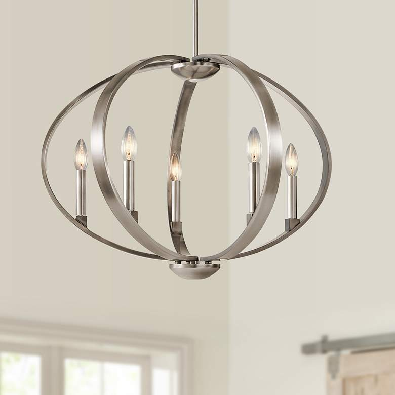 "Kichler Elata 27""W Classic Pewter 5-Light Orbital Chandelier"