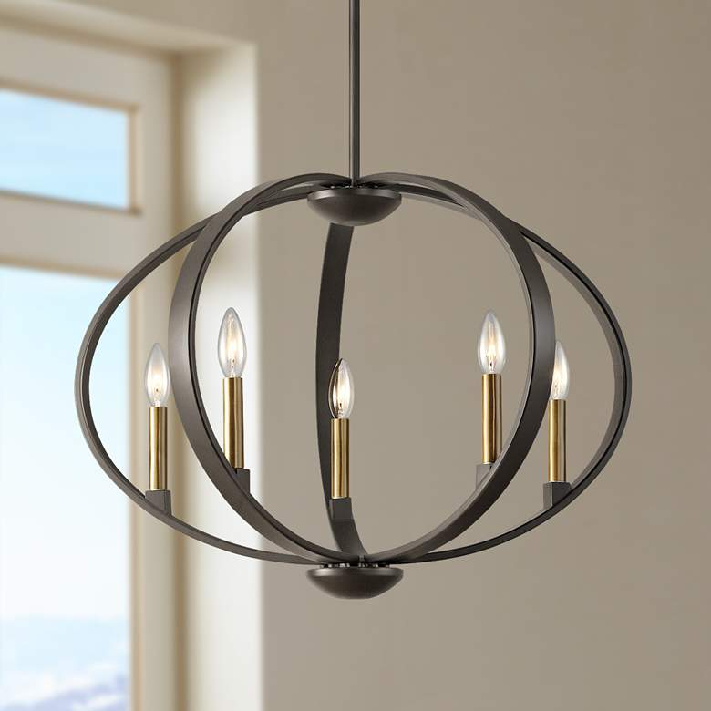 "Elata 27"" Wide Olde Bronze 5-Light Orbital Chandelier"
