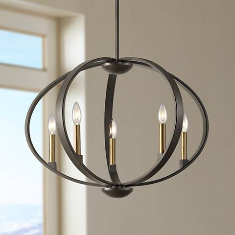"Kichler Elata 27""W Olde Bronze 5-Light Orbital Chandelier"