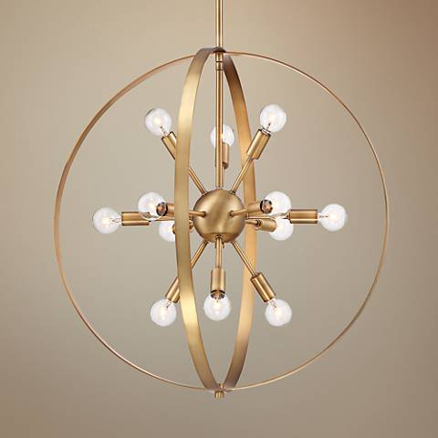 "Savoy House Marly 24 1/2""W Warm Brass 12-Light Chandelier"