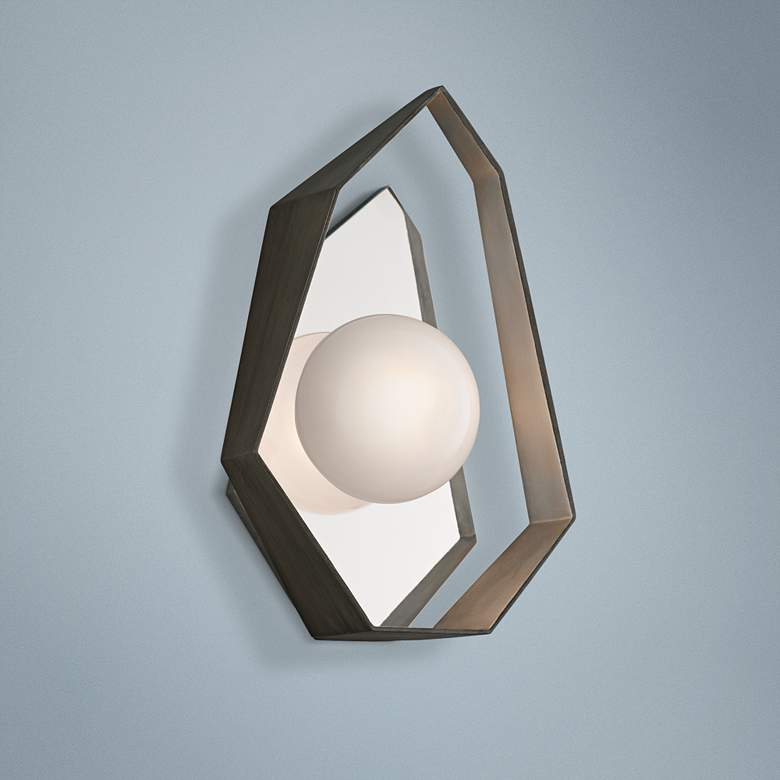 "Origami 14 1/2""High Graphite with Silver LED Wall Sconce"