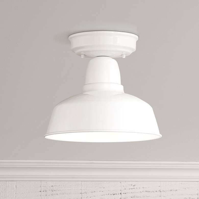 "Urban Barn 10 1/4"" Wide White Outdoor Ceiling Light"