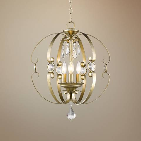 "Ella WG 18""W White Gold Open Sphere Foyer Pendant"