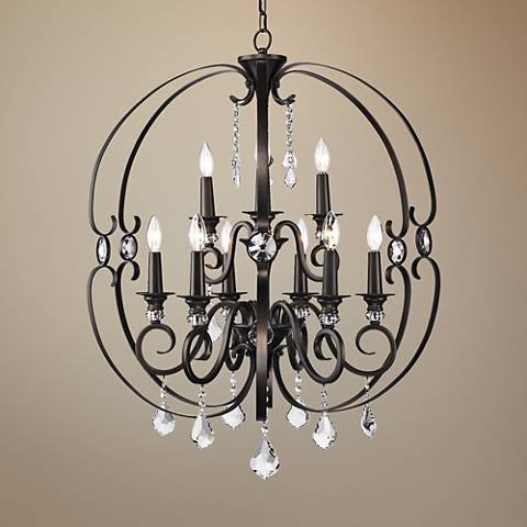 "Ella 30"" Wide Etruscan Bronze 9-Light Large Chandelier"