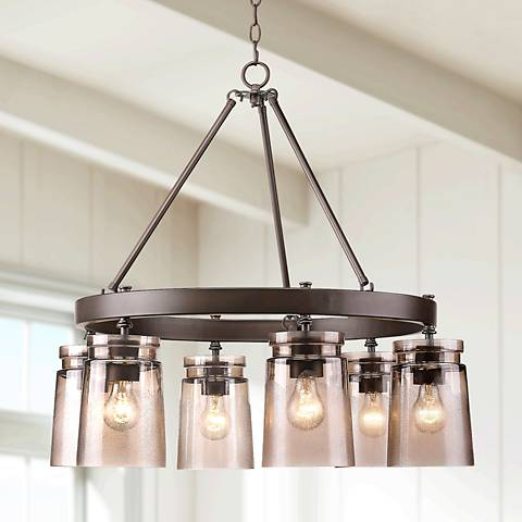 "Travers 28 1/4""W Rubbed Bronze Nostalgic 6-Light Chandelier"