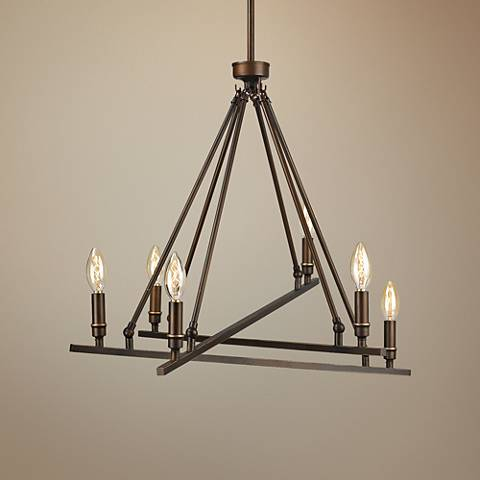 "Garvin 27""W Rubbed Bronze Asymmetrical 6-Light Chandelier"