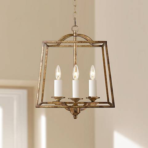 "Athena 14 3/4""W Grecian Gold Open Cage Small Foyer Pendant"