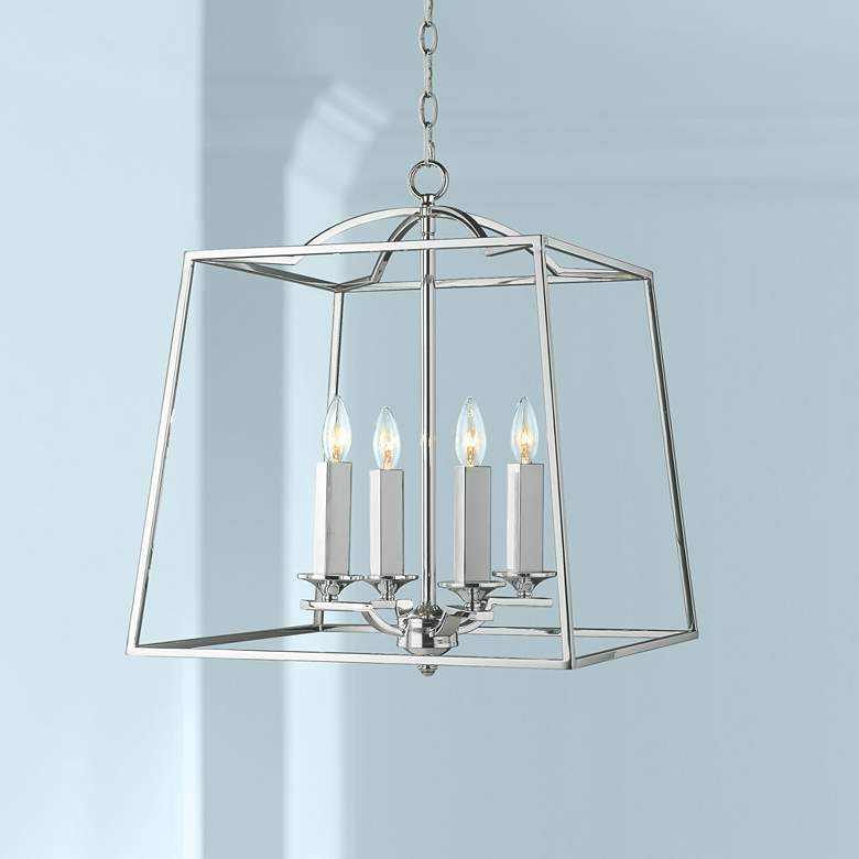 Athena 19 Wide Chrome Open Cage Large Foyer Pendant