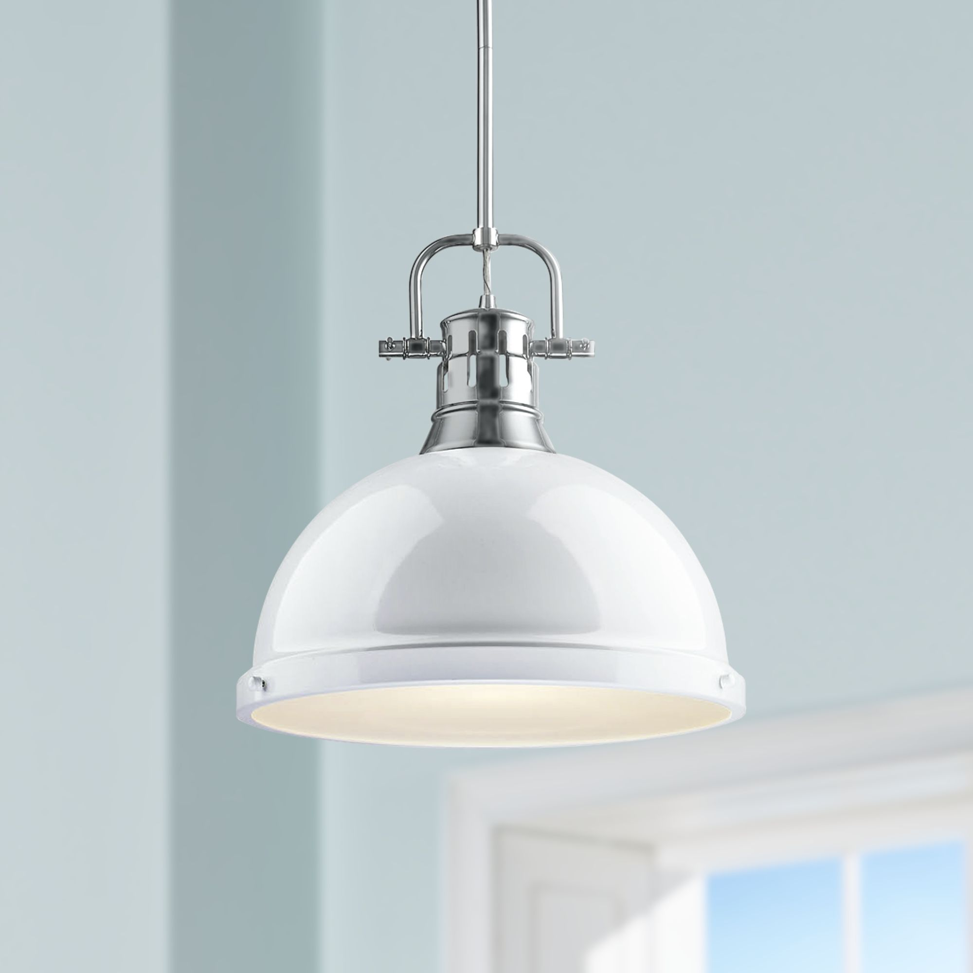 Duncan 14u0026quot; Wide White Shade Chrome Pendant Light