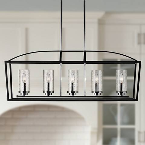 "Mercer 38 1/4"" Wide Black Open Cage 5-Light Linear Pendant"