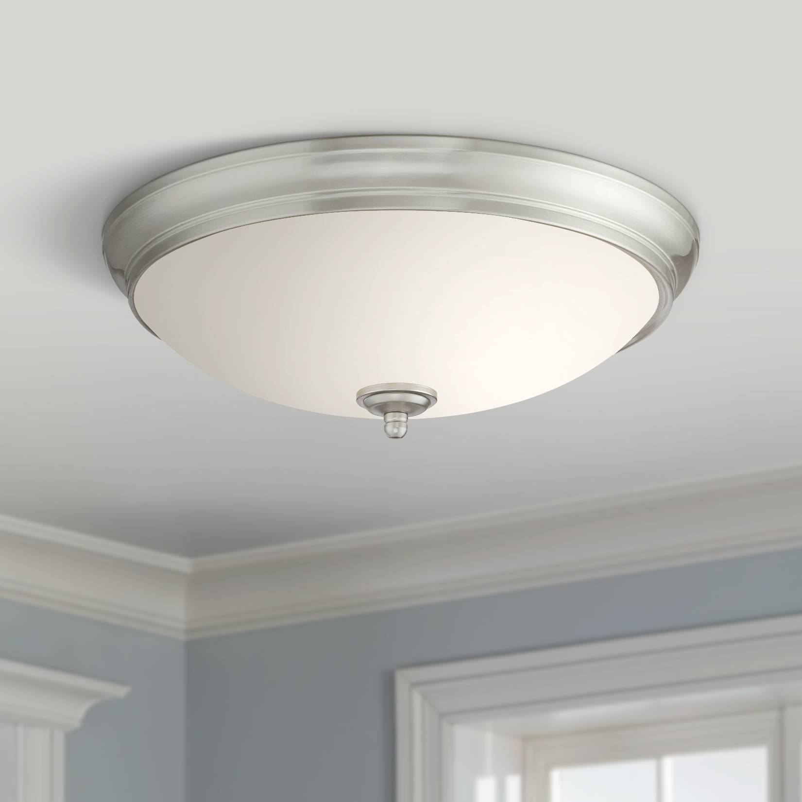 Melana 13 wide brushed nickel led ceiling light
