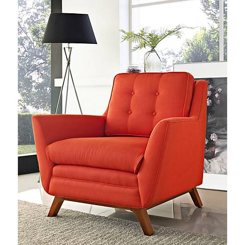 Beguile Atomic Red Fabric Tufted Armchair