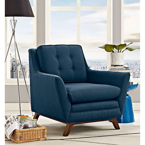 Beguile Blue Azure Fabric Tufted Armchair