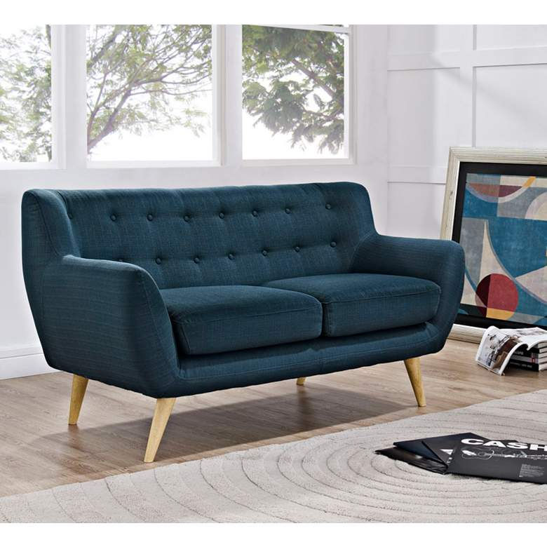 "Remark 61 1/2"" Wide Azure Fabric Tufted Loveseat"