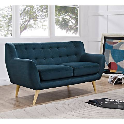 Remark Azure Fabric Tufted Loveseat