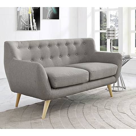 Remark Light Gray Fabric Tufted Loveseat