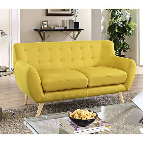 Remark Sunny Fabric Tufted Loveseat