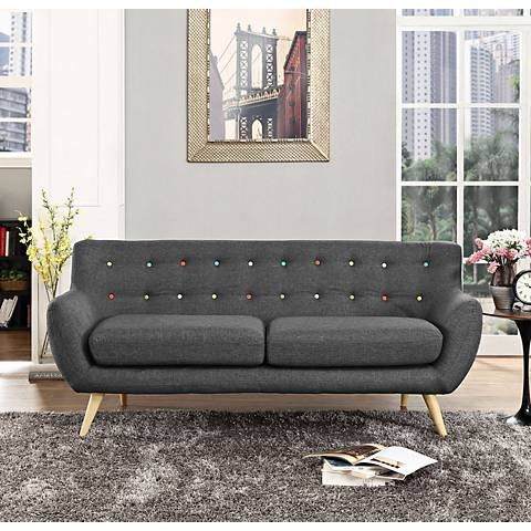 "Remark 74"" Wide Gray Fabric Tufted Sofa"