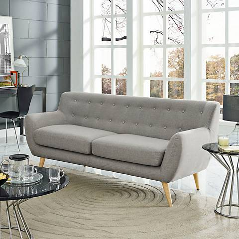 "Remark Light Gray 74"" Wide Fabric Tufted Sofa"