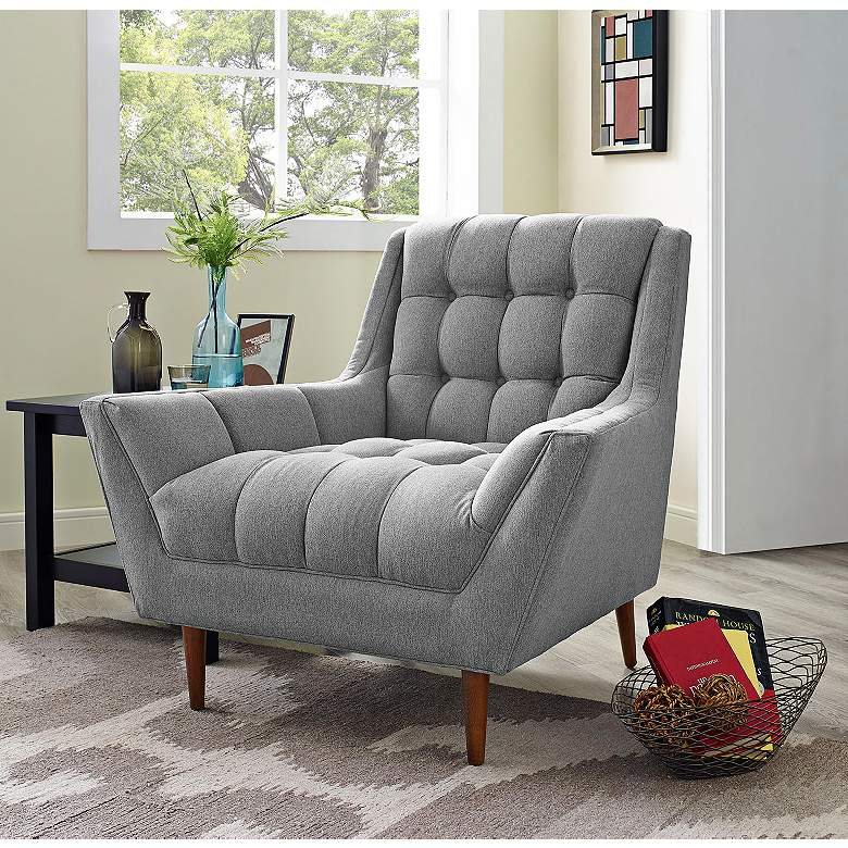 Response Expectation Gray Fabric Tufted Armchair