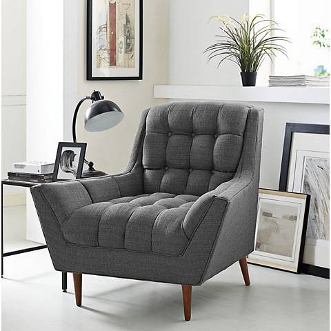 Response Gray Fabric Tufted Armchair