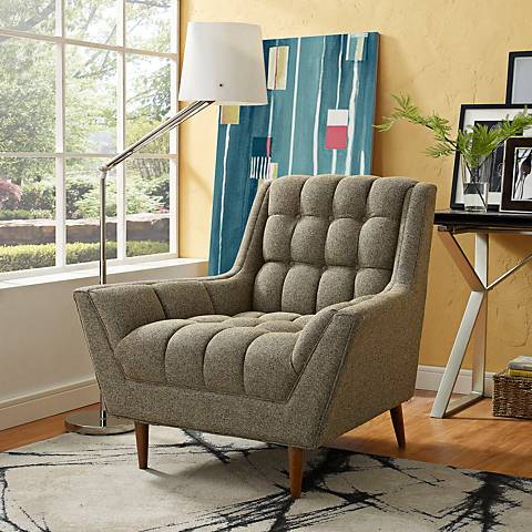 Response Oatmeal Fabric Tufted Armchair