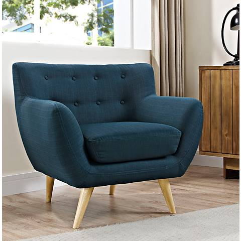 Remark Azure Fabric Tufted Armchair