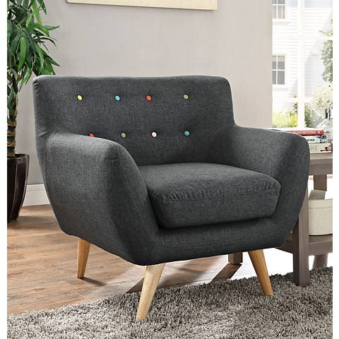 Remark Gray Fabric Tufted Armchair
