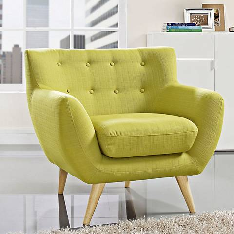 Remark Wheatgrass Fabric Tufted Armchair