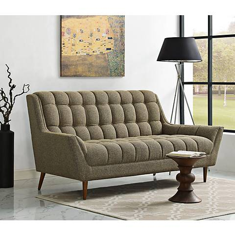 Response Oatmeal Fabric Tufted Loveseat
