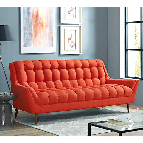 "Response 89"" Wide Atomic Red Fabric Tufted Sofa"