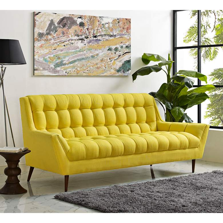 "Response Sunny 89"" Wide Fabric Tufted Sofa"